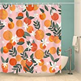 Peach Shower Curtain for Bathroom Tropical Fruit Orange Apricot Flower Leaves Floral Shower Curtain Set with 12 Hooks Waterpr