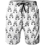 K0k2t0 Men Swim Trunks Beach Shorts,Mama Bear with Her Cub Mothers Love and Affection Cartoon Drawing Style Playful Pair