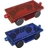PicassoTiles 2 Piece Car Truck Set w/ Extra Long Bed & Re-Enforced Latch, Magnet Building Tile Magnetic Blocks -Creativity Be