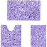 HOMEIDEAS Microfiber Absorbent Bath Rug, Chenille Washable Floor Mat -Non Slip Soft Carpet Modern Lavender