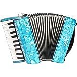 ammoon ピアノアコーディオン アコーディオン 8ベース 22鍵 独奏用 (ブルー)