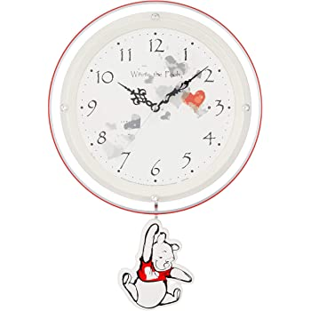 (リズム時計) Disney Winnie the Pooh くまのプーさん 《 大人ディズニーシリーズ 》 キャラクター 電波 振子時計 白パール色 8MX407MC03