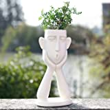 FROZZUR Head, Outdoor, White Flower Pot for Mini, Modern Design, Face Shaped Flower Pot with Drainage Holes.