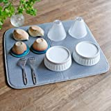 mikketa 水切りマット キッチン 食器 大判 速乾 吸水 グレー 抗菌 防カビ 加工 全8色