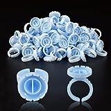 INFILILA Glue Rings 100PCS Disposable Rings For Lashes Smart Glue Rings Volume Lash Fan Blossom Glue Cups Fanning Ring Holder