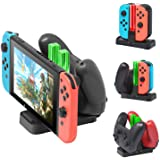 [New Version]Charger for Nintendo Switch Pro Controllers and Joy-Cons,Charging Stand for Nintendo Switch with 2 Type-C USB Po