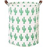 (Cactus) - CLOCOR Collapsible Round Storage Bin/Large Storage Basket/Clothes Laundry Hamper/Toy Books Holder (Cactus)