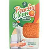 Peachy Clean Silicone Scrubber (Qty 3) - Kitchen and Dish Scrubber (Peach Fragrance)