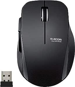 エレコム マウス ワイヤレス (レシーバー付属) Mサイズ 5ボタン (戻る・進むボタン搭載) 静音 ブラック M-FBL01DBXSBK