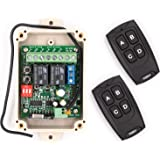 Solidremote 12V - 24V Secure Wireless RF Remote Control Relay Switch Universal 2-Channel 433MHz Receiver with 2 FCC ID Transm