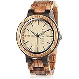 メンズ木製腕時計アナログクォーツ軽量ハンドメイドサンダルウッドカジュアル腕時計 (ブラウン)
