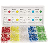 DiCUNO 450pcs(5 colors x 90pcs) 5mm LED Light Emitting Diode Round Assorted Color White/Red/Yellow/Green/Blue Kit Box (5mm*45