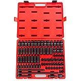 Sunex 3580, 3/8 Inch Drive Master Impact Socket Set, 80 Piece, SAE/Metric, 5/16 Inch - 3/4 Inch, 8mm - 19mm, Standard/Deep/Un