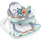 Fisher-Price Sit-Me-Up Floor Seat with Tray, Penguin-Themed Portable Infant Chair with Snack Tray and Toys