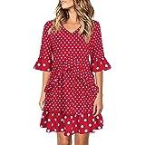 GIKING Women's Polka Dots Ruffles Hem Swing Dresses