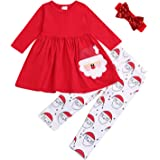 SEVEN YOUNG Christmas Outfits Kids Toddler Baby Girls Xmas Dress Shirt+Santa Print Pants Sets Fall Clothes