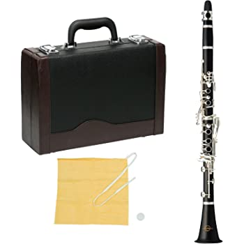 MAXTONE クラリネット B♭管 ベーム式 エボニー(木製)管体 銀メッキ キー CL-50 ハードケース付
