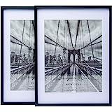 Cooper & Co. 10 x 13 Inch Matt to 8 x 10 Inch Premium Metallicus Metal Photo Frames Set of 2 Pieces, Black