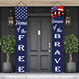 American Flag Patriotic Soldier Porch Sign Banners,Patriotic Decoration for Memorial Day-4th of July Decor Hanging,Independen