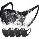 Unisex Reusable Washable Anti-Dust Protetive Face Sponge Bandana for Women & Men - 4 Pack, Black