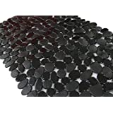 Anti-Slip Anti-Bacterial Stone Bath MatsSlip-Resistant Shower Mats( Black16 W x 35 L Inches)