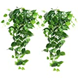 Artificial Hanging Plants Leaves - 2Pcs Fake Ivy Vine Greenery Leaves for Indoor Outdoor Garden Wedding Party Decoration(Scin