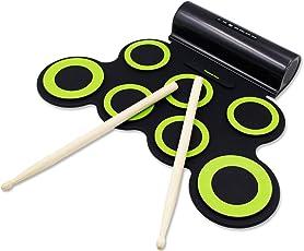 Rockpals 電子ドラム ポータブルドラム ドラムセット 大容量電池付き MP3・USB・PHONES対応可能 マルチ伴奏 デモ機能搭載 8デモ曲 7個ドラムパッド 5音色 3リズム 充電式 ホーン二つ内蔵 コンパクト 外部オーディオ入力 練習/初心者/入門/子供/おもちゃ 高品質で一年保証