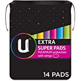 U BY KOTEX Maxi's U by Kotex Extra Pads Super with Wings (Pack of 14), Pack of 14 0.149 kilograms