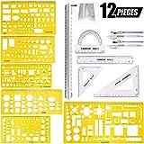 Swpeet 12Pcs Plastic Yellow Geometric Drawings Templates Kit, 6 Different Geometric Measuring Drawings Templates Stencils wit