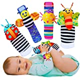 Babycheeks Baby Wrist Rattle & Foot Finder Socks - Infant Developmental Sensory Learning Toys for Boys and Girls from 0-3-6 M