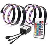 Kohree LED テープライト RGB テレビバックライト 0.5Mx2本 PC照明 調光調色 リモコン付き イルミネーション 間接照明 USB接続 疲れ目に効く 強粘着テープ仕様 2A/5V電源 カラフル 防水防塵 屋内外装飾
