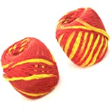 Mauli Red & Yellow (Set of 2) Handmade Mauli, Kalawa, Sacred Moli, Religious Cotton Thread, Pooja Dhaaga, Wrist Roll, for Puj