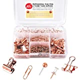 Push Pins Binder Clips Paper Clips Map Tacks Sets, 5 Styles 396 Pcs Rose Gold Pack for Office, School and Home Supplies (Pin