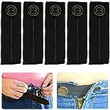 5PCS Adjustable Elastic Waist Extender Waistband Button Extenders for Jeans Pants Trousers Black