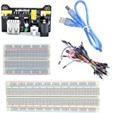 UCEC 830-Point Solderless Breadboard + 400-Point Breadboard + Breadboard Jumper Wires + USB Cable + Power Module for arduino,