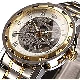 時計、機械式時計 メンズウォッチクラシックスタイルのメカニカルウォッチスケルトンステンレススチールタイムレスデザインメカ…