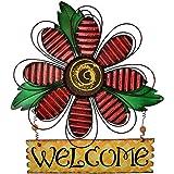 E-view Metal Welcome Sign Daisy Hanging Signs for Front Door - Indoor Outdoor Door Decor Wall Art Flower Decoration Decorativ