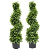 Armada Topiary Trees Artificial Faux Fakes Spiral Plant Green Tree Boxwood Topirary Plants Indoor Outdoor Decor in Plastic Po