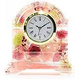 Lulu's ルルズ ハーバリウム 花時計 Flower clock ピンク プリザーブドフラワー ドライフラワー サイズ:高さ14×幅13×奥行4cm 時計文字盤ローマ数字ピンク Lulu's-0497
