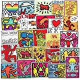 Keith Haring Street Artist Stickers for Water Bottles 50Pcs Cute,Waterproof,Aesthetic,Trendy Stickers for Teens,Girls Perfect