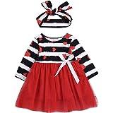 DUBASAM Toddler Baby Girl Valentine's Day Dress Long Sleeve Striped Heart Printed Top Tutu Skirt with Headband