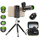 Apexel Mobile Phone Camera 6 in 1 Phone Lens Kit -Remote Shutter+ Phone Tripod+Metal 16X Telephoto Zoom Lens/0.63x Wide Angle
