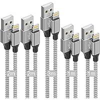 iPhone 充電線【5根套裝 3/3/6/6/10FT】閃電充電線 超高耐用USB同步&充電 快速充電 Lightni…