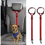 Bwogue 2 Packs Dog Cat Safety Seat Belt Strap Car Headrest Restraint Adjustable Nylon Fabric Dog Restraints Vehicle Seatbelts