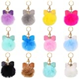 12 Pieces Pom Poms Keychains Faux Fur Pompoms Keyring Bow Rhinestone Fluffy Ball Pompoms Keychains for Women Girls