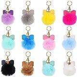 12 Pieces Pom Poms Keychains Faux Fur Pompoms Keyring Bow Rhinestone Fluffy Ball Pompoms Keychains for Women Girls