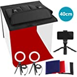 Neewer Photo Studio Box, 16x16inches Table Top Photo Light Box Continous Lighting Kit with 3 Tripod Stands, 2 LED Ring Lights