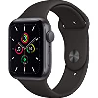 Newest Apple Watch SE (GPS Model) - 44mm Space Gray Aluminum Case and Black Sport Band