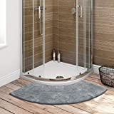 Seavish Luxury Grey Shag Curved Bath Rug, 18 x 57 inch Non Slip Microfiber Soft Absorbent Fanned Shower Mats Washable Bathroo