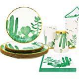 Cactus Birthday Party Supplies for Serves 24, Boho Jungle Theme Disposable Plates,Cups and Paper Napkins for Birthday Baby Sh